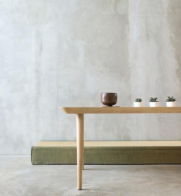 Concepto de minimalismo de mesa de habitación vacía PSD gratuito