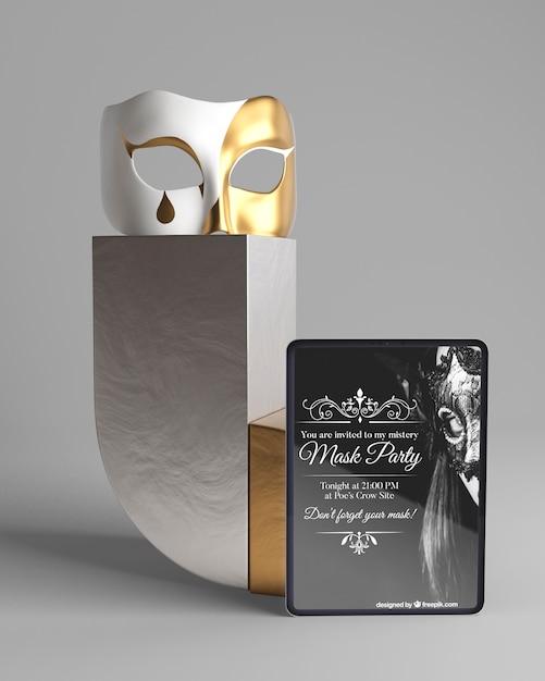 Concepto minimalista con maqueta de fiesta de máscara PSD gratuito