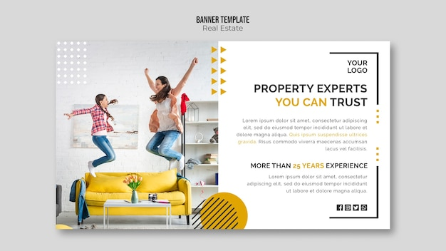 Concepto de plantilla de banner inmobiliario PSD gratuito