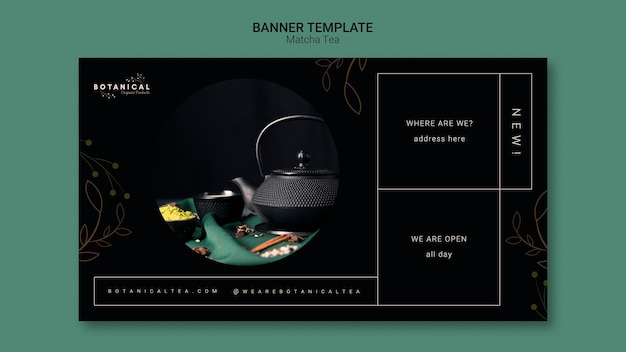 Concepto de plantilla de banner de té matcha PSD gratuito