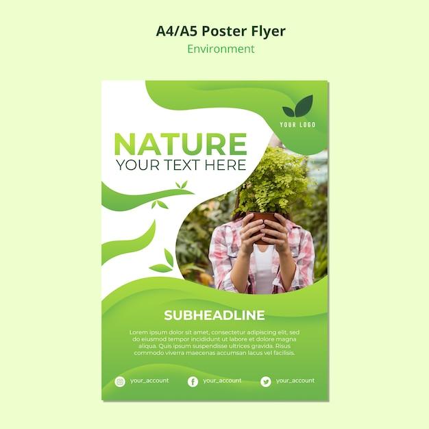 Concepto de plantilla de cartel de la naturaleza PSD gratuito
