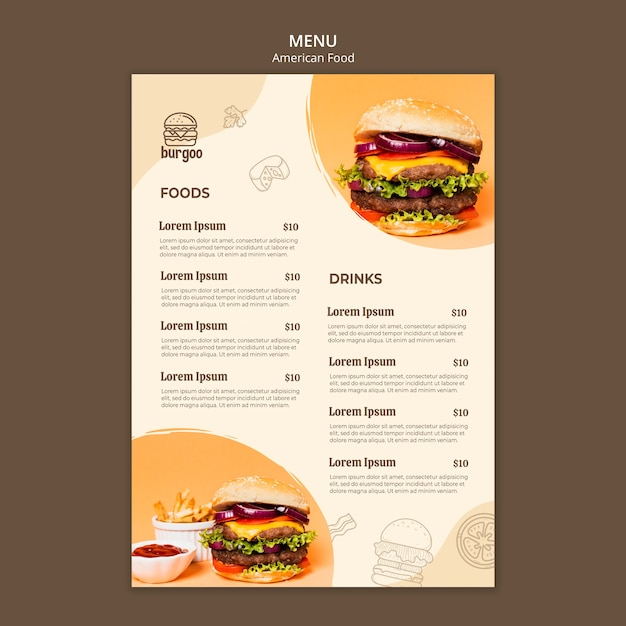 Concepto de plantilla de menú de comida americana PSD gratuito