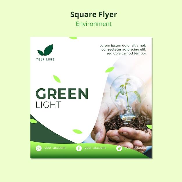 Concepto de plantilla de volante de luz verde PSD gratuito