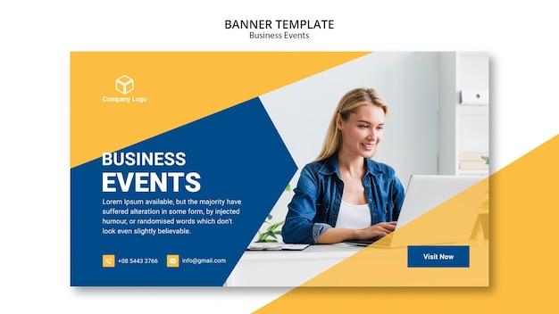 Concepto de plantilla web de banner de negocios PSD gratuito