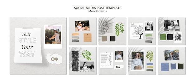 Concepto de publicación en redes sociales con moodboard PSD gratuito