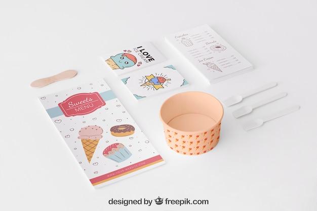 Concepto stationery de helado con menú PSD gratuito
