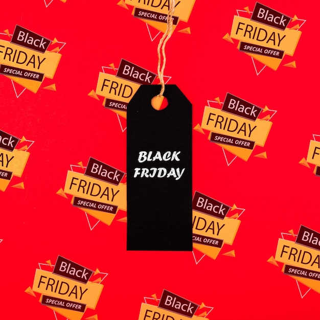 Concepto de viernes negro con etiqueta de precio PSD gratuito