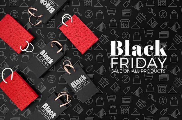 Concepto de viernes negro maqueta sobre fondo negro PSD gratuito