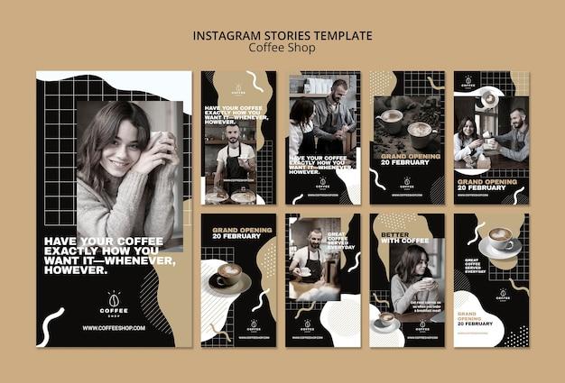 Concetto del modello di storie di instagram per la caffetteria Psd Gratuite