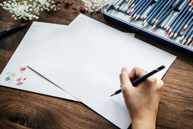 Concetto dell'area di lavoro di illustrationist con copyspace Psd Gratuite