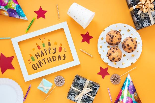 Concetto di buon compleanno mock-up Psd Gratuite