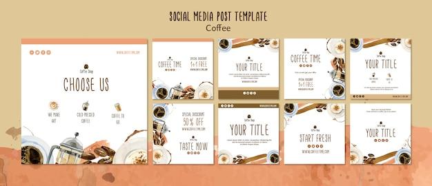 Concetto di caffè per modello di post social media Psd Gratuite