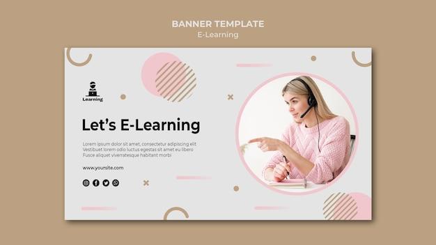 Concetto di e-learning di progettazione del modello dell'insegna Psd Gratuite