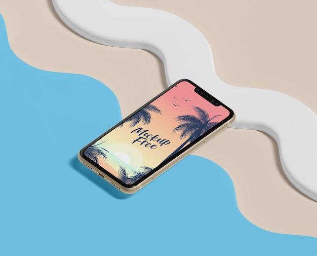 Concetto di estate con il telefono e la spiaggia Psd Gratuite