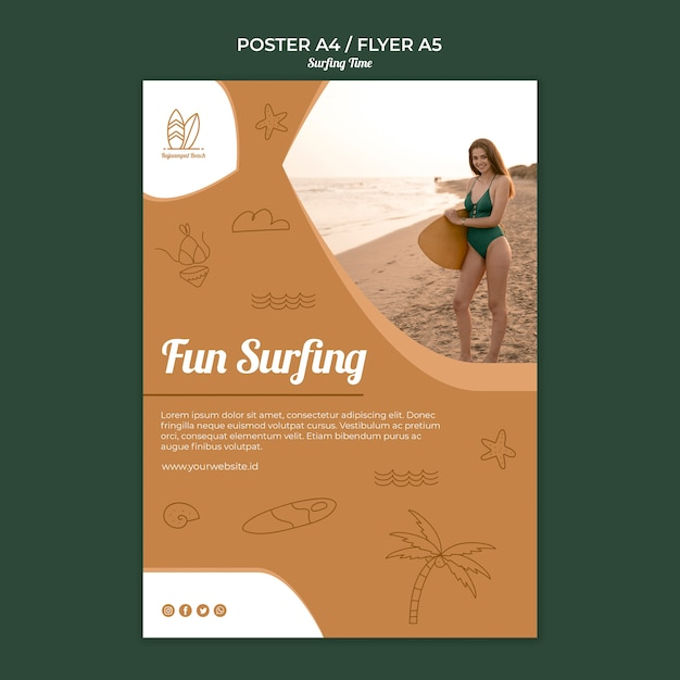 Concetto di modello di surf poster Psd Gratuite