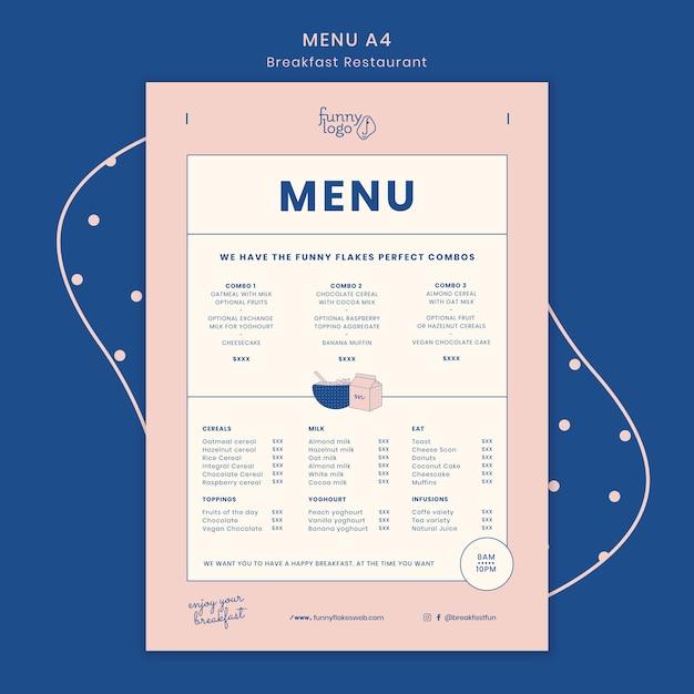 Concetto di modello per menu del ristorante Psd Gratuite