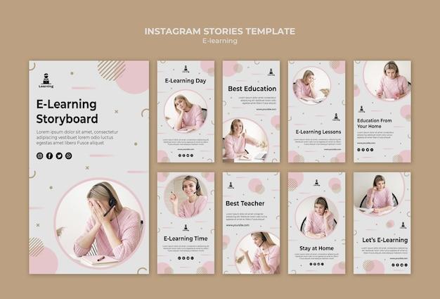 Concetto di storie di instagram di e-learning Psd Gratuite