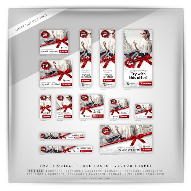 Conjunto de banners de compras y venta de navidad PSD Premium