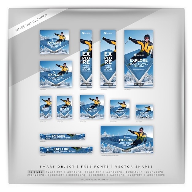Conjunto de banners de viaje de invierno PSD Premium
