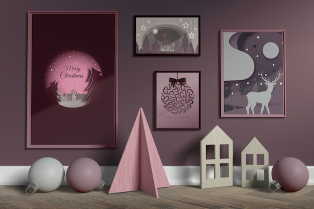 Conjunto de colección de cuadros en maqueta de pared PSD gratuito