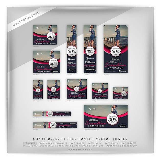 Conjunto elegante de la bandera de la comercialización de la moda y de la venta PSD Premium