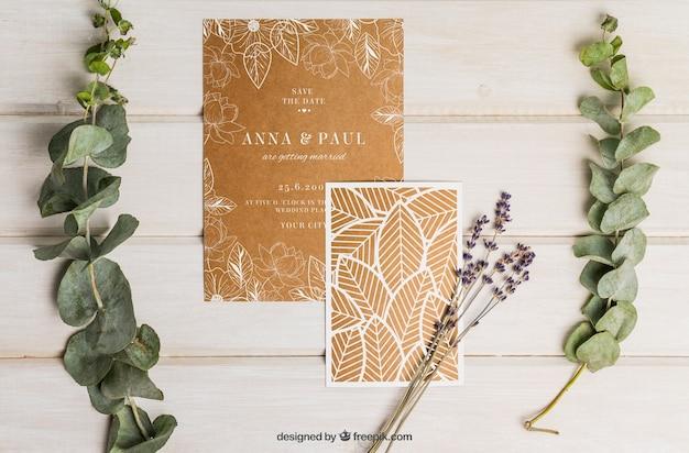 Conjunto elegante de cartón para boda PSD gratuito