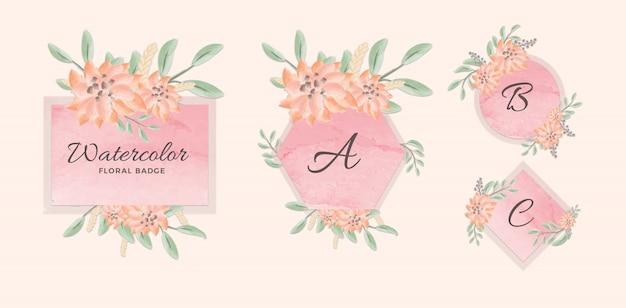 Conjunto de insignia geométrica femenina con fondo rosa acuarela y flores PSD Premium