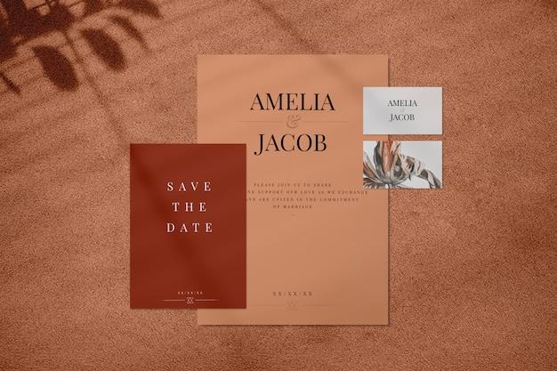 Conjunto de maqueta de invitación de boda marrón PSD gratuito
