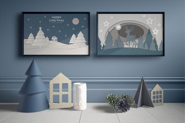 Conjunto de marcos en la pared con piezas de la casa en miniatura. PSD gratuito