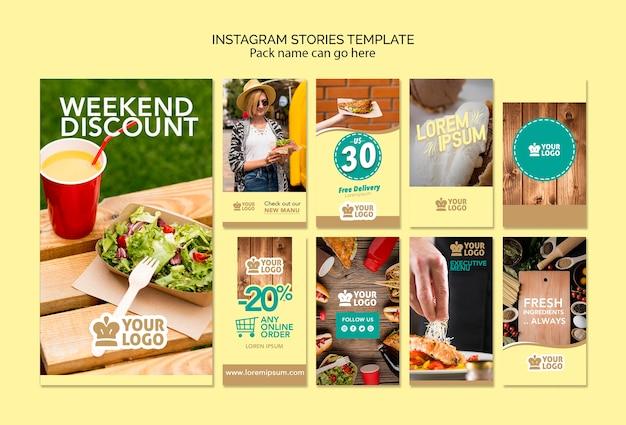 Conjunto de plantilla de historias de instagram con deliciosas ofertas de comida PSD gratuito