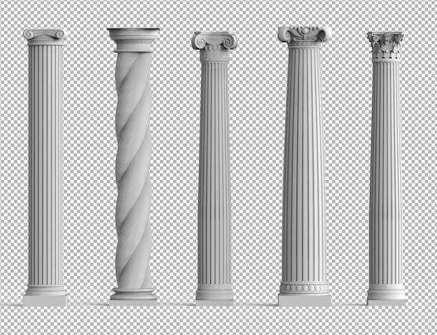 Conjunto realista de antiguas columnas 3d aisladas con diferentes estilos de arquitectura griega. PSD Premium