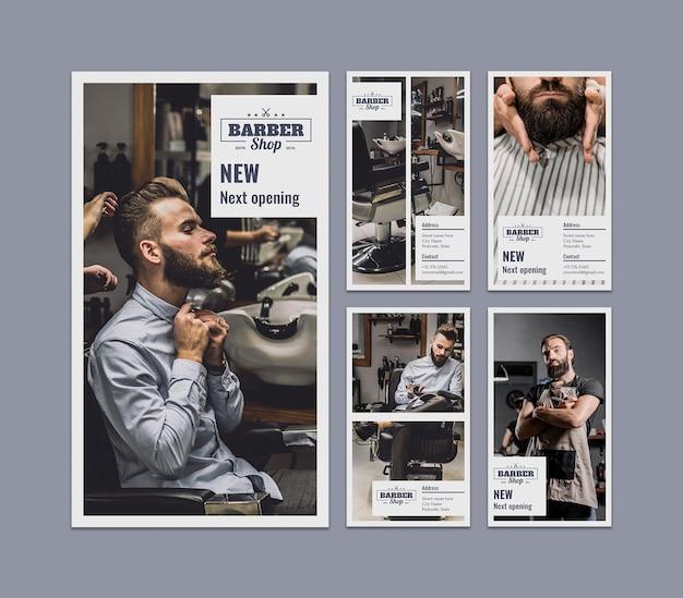 Conjunto de stories de instagram con concepto de peluquero PSD gratuito