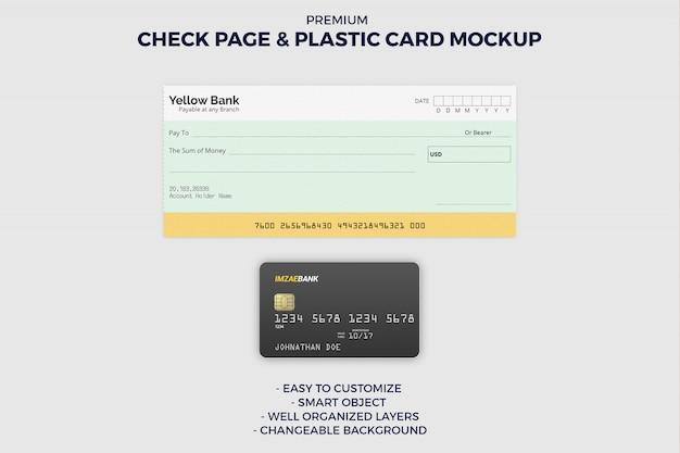 Controlla la pagina del libro e il mockup della carta di credito Psd Premium