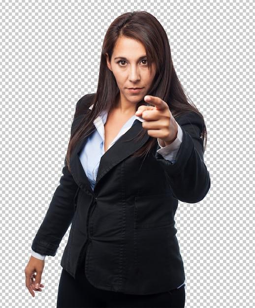 Cool donna d'affari che punta davanti Psd Premium