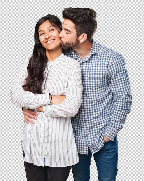 Cool pareja sonriendo en blanco PSD Premium