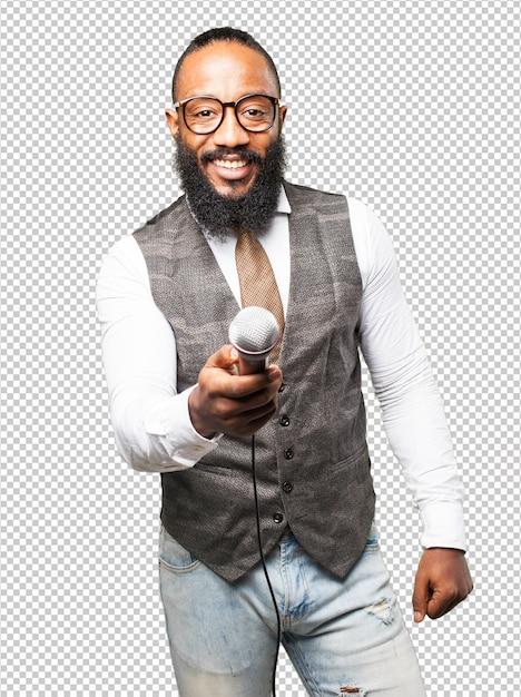 Cool uomo di colore con un microfono Psd Premium