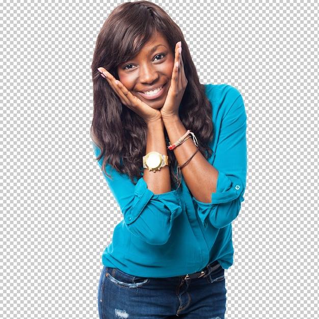 Cool zwarte vrouw lachend Premium Psd