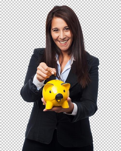 Coole zakenvrouw met spaarvarken Premium Psd