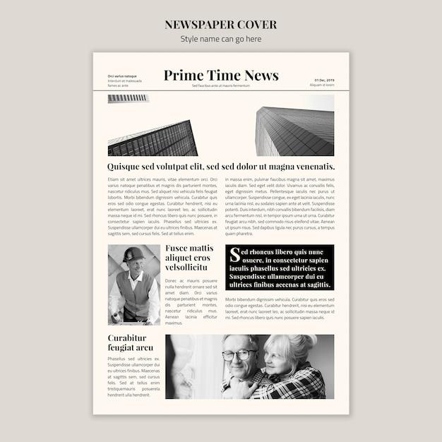 Copertina di un giornale in bianco e nero Psd Gratuite