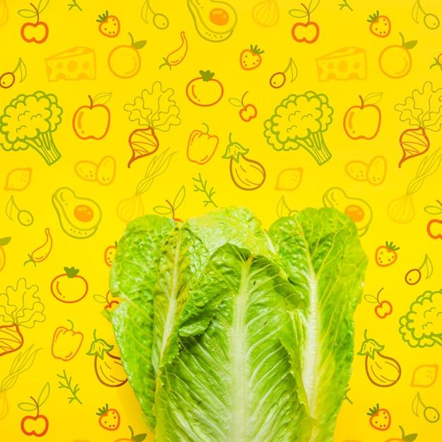 Copia-spazio con insalata fresca mock-up Psd Gratuite
