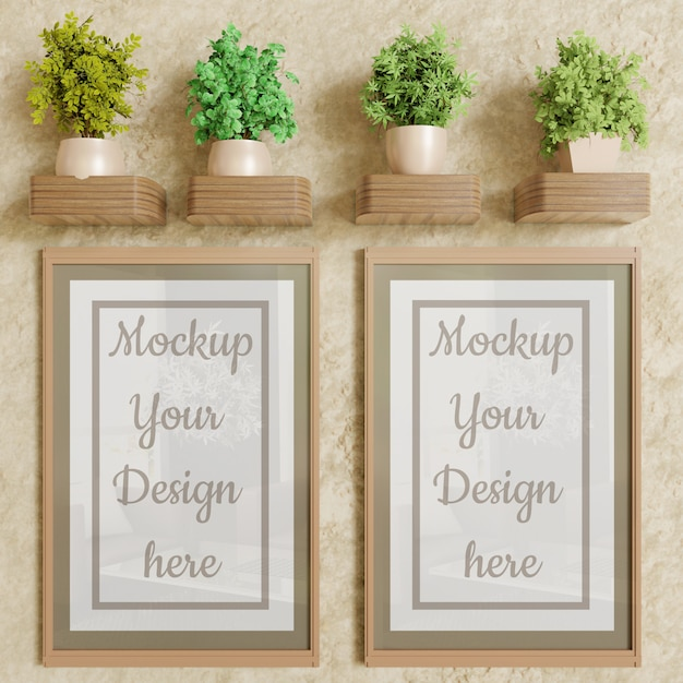 Coppia il modello della struttura del manifesto sulla parete con la decorazione delle piante Psd Premium