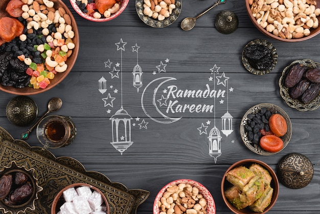 Copyspace mockup con il concetto di ramadan Psd Gratuite