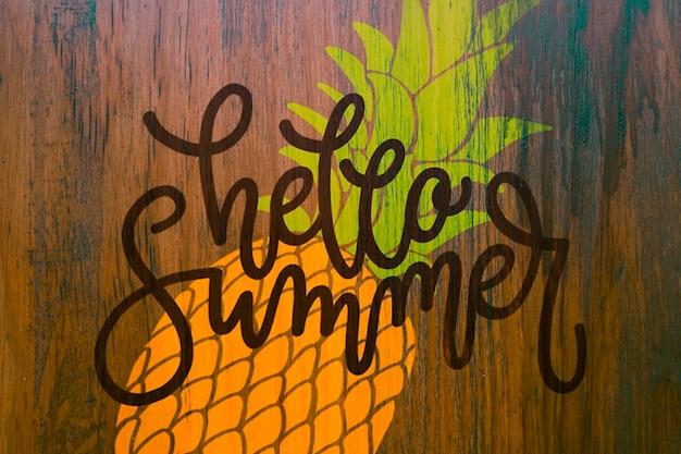Copyspace-mockup op muur voor de zomer van letters voorzien Gratis Psd