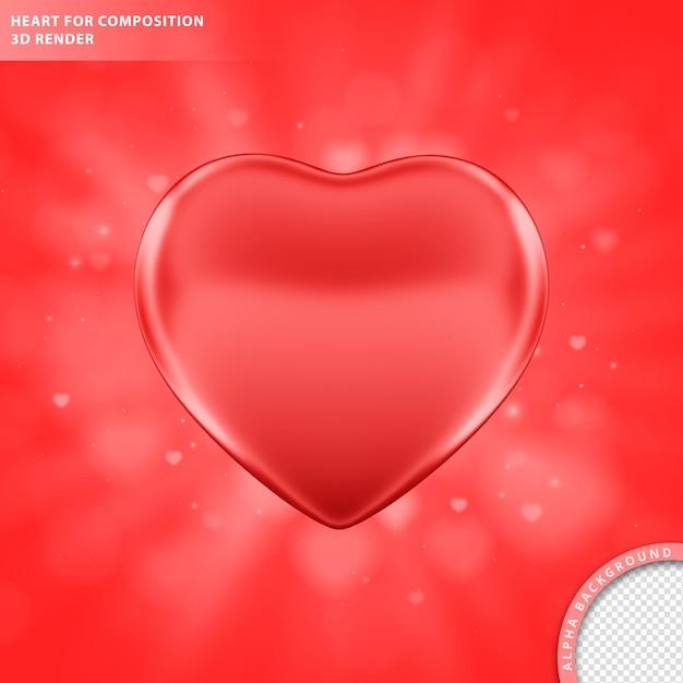 Corazón rojo para la composición 3d render PSD gratuito