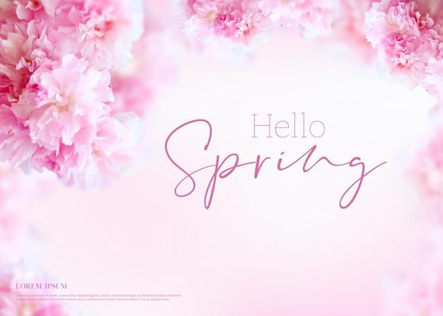 Cornice bianca ciao banner di primavera Psd Premium