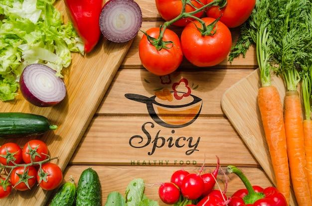 Cornice di verdure fresche e nutrienti Psd Gratuite