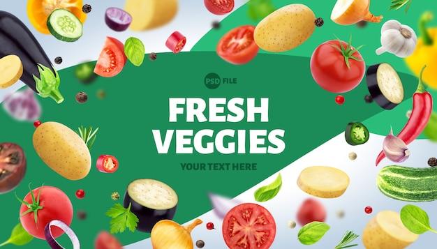 Cornice fatta di diverse verdure, erbe e spezie, con spazio di copia Psd Premium