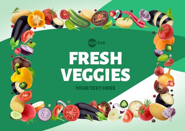 Cornice fatta di diverse verdure, erbe e spezie Psd Premium