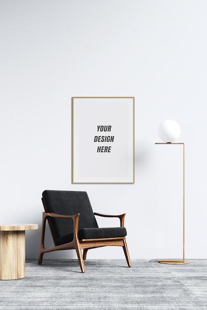 Cornice per poster e mockup di pareti con decorazioni Psd Premium