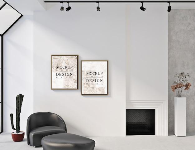 Cornici per mockup in interni bianchi moderni con poltrona e pouf Psd Premium
